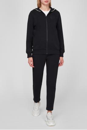 Женский черный костюм (худи, брюки) 1