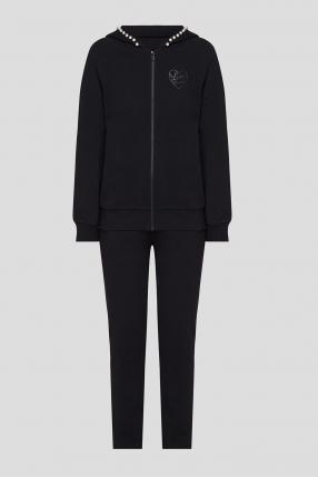 Женский черный костюм (худи, брюки)