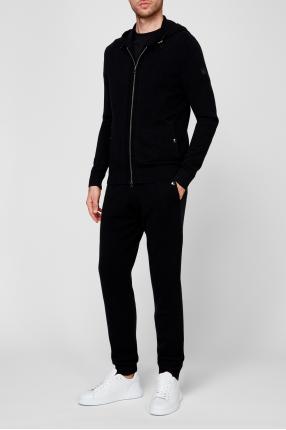 Мужской черный шерстяной костюм (худи, брюки) 1