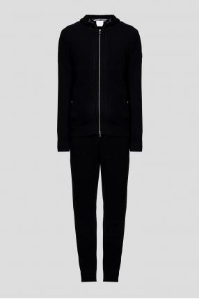 Мужской черный шерстяной костюм (худи, брюки)