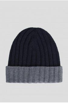 Мужская темно-синяя кашемировая шапка