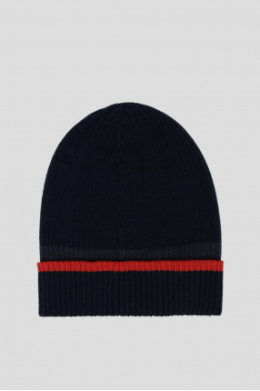 Мужская темно-синяя шерстяная шапка 1