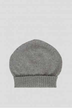 Женская серая кашемировая шапка