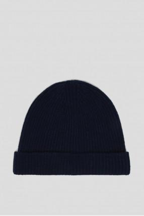Синяя шерстяная шапка