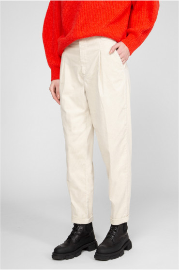 Женские бежевые вельветовые брюки 2