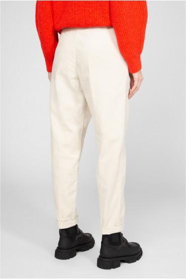 Женские бежевые вельветовые брюки 3