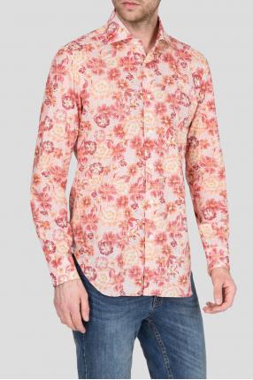 Мужская розовая рубашка с принтом 1