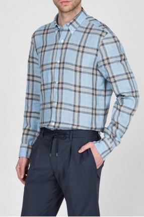 Мужская голубая льняная рубашка в клетку 1