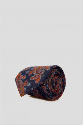 Мужской синий шерстяной галстук с узором