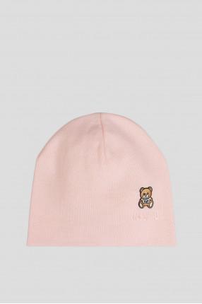 Женская пудровая шерстяная шапка