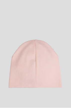 Женская пудровая шерстяная шапка 1