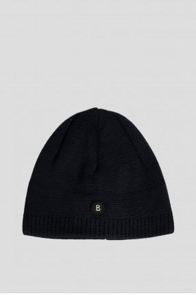 Мужская темно-синяя шерстяная шапка