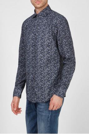 Мужская темно-синяя рубашка с узором 1