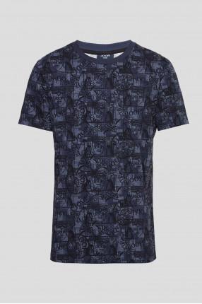 Мужская темно-синяя футболка с узором
