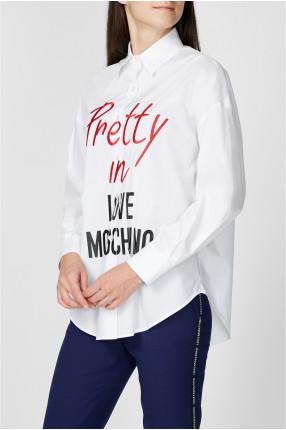 Женская белая рубашка с принтом 1