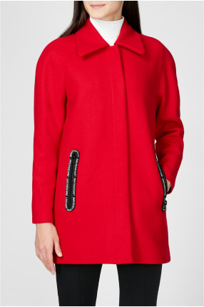 Женское красное шерстяное пальто 1