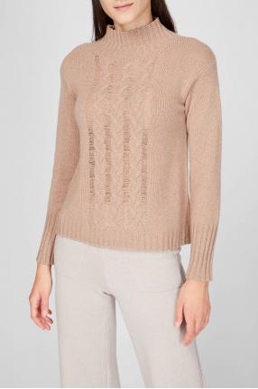 Женский бежевый шерстяной свитер 1