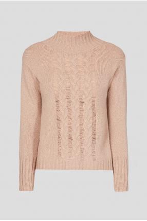 Женский бежевый шерстяной свитер