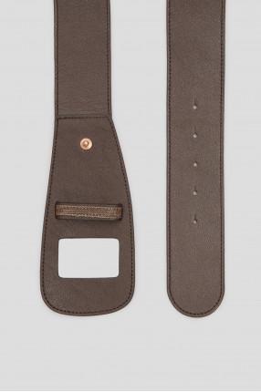Женский коричневый кожаный ремень 1