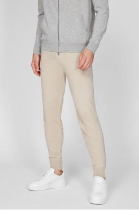 Мужские бежевые шерстяные спортивные брюки 1