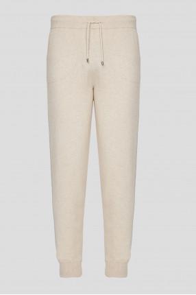 Мужские бежевые шерстяные спортивные брюки