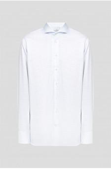 Мужская белая рубашка в клетку