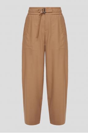 Женские бежевые шерстяные брюки