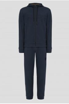 Чоловічий темно-синій спортивний костюм (худі, брюки)