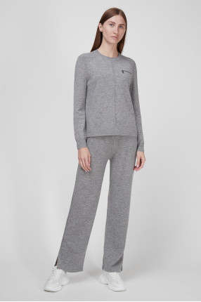 Женский серый шерстяной спортивный костюм (джемпер, брюки) 1