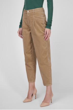 Женские бежевые вельветовые джинсы 1