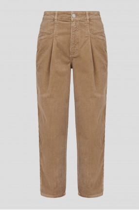 Женские бежевые вельветовые джинсы