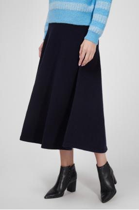 Женская темно-синяя шерстяная юбка 1
