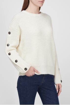 Женский белый шерстяной свитер 1