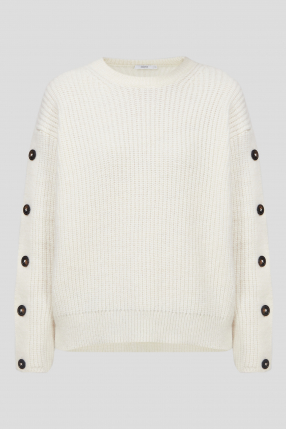 Женский белый шерстяной свитер