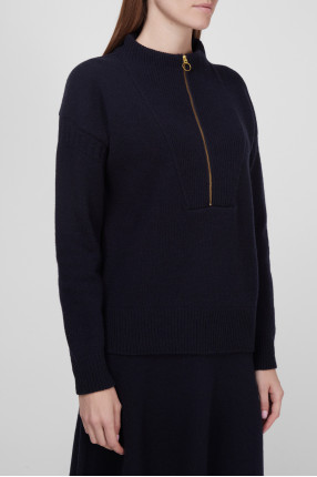 Женский темно-синий шерстяной свитер 1