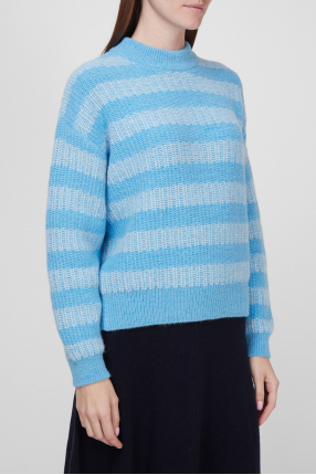 Женский голубой шерстяной свитер  1