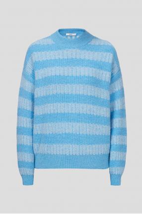 Женский голубой шерстяной свитер