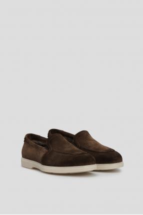 Мужские темно-коричневые замшевые лоферы 1