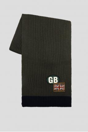 Мужской зеленый шерстяной шарф