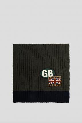 Мужской зеленый шерстяной шарф 1