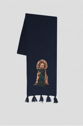 Мужской темно-синий шерстяной шарф