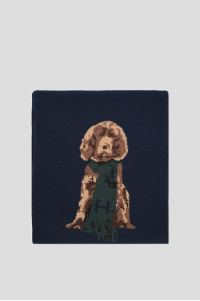 Мужской темно-синий шерстяной шарф 1