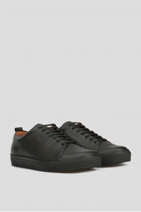 Мужские черные кожаные сникеры 1