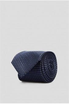 Мужской темно-синий шелковый галстук с узором