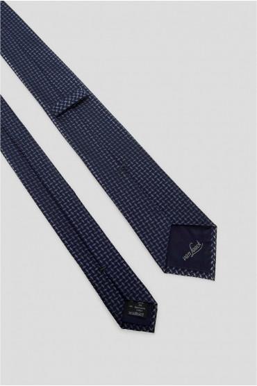 Мужской темно-синий шелковый галстук с узором 3