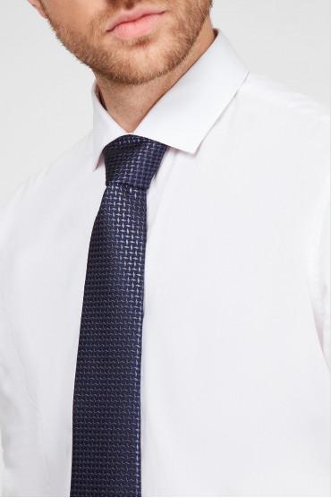 Мужской темно-синий шелковый галстук с узором 4