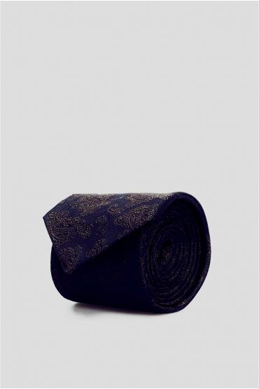 Мужской темно-синий шелковый галстук с узором 1