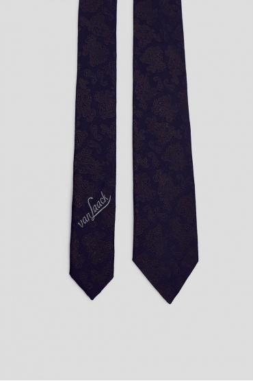 Мужской темно-синий шелковый галстук с узором 2