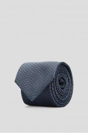 Мужской синий шелковый галстук с узором