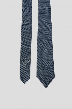 Мужской синий шелковый галстук с узором 1